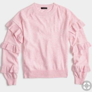 J. Crew Ruffle Sleeve Sweater Light Pink